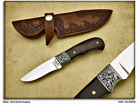 McFall, Ken - Snakewood Engraved Hunter - Fixed Blade