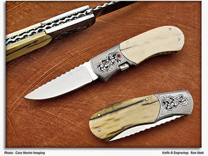 Nott, Ron - Ivory Engraved Automatic - BolsterLever Folder
