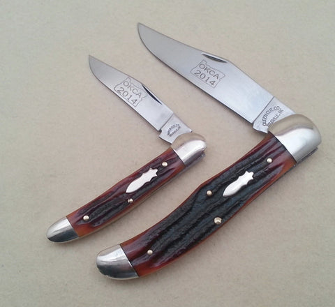 "OKCA 2014 Club Knife - Queen Bone ""Mini Hunter"" Copperhead PocketKnife"
