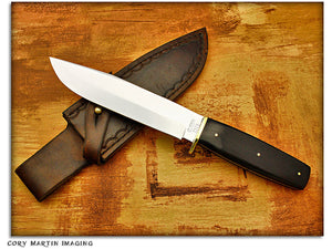 QCC 2012 Club Knife - Queen Ebony Cowboy Shooter's Knife w/Sheath - Fixed Blade