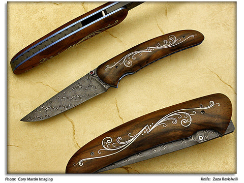 Revishvili, Zaza – Walnut w/Nickel Silver Inlay Folding Hunter – LinerLock Folder