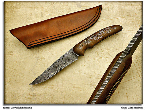 Revishvili, Zaza – Walnut with Nickel Silver Inlay Hunter w/Sheath – Fixed Blade