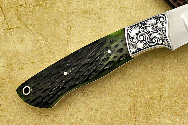 Ricke, Dave – Green Bone Engraved Hunter w/Sheath – Fixed Blade