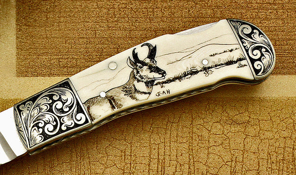 Ricke, Dave - Engraved Pronghorn Scrim Folder - Backlock Folder