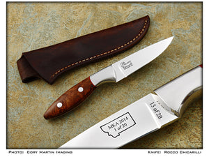 MKA 2014 Club Knife - Chicarilli, Rocco - Amboyra Burl Hunter -Fixed Blade