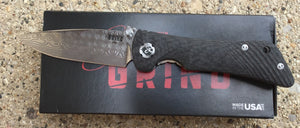 Spider Monkey – Carbon Fiber Damasteel Drop Point – LinerLock Folder