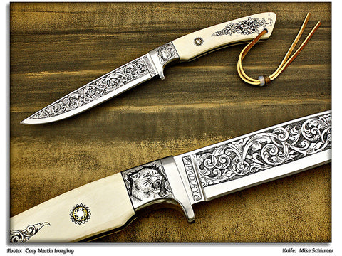 Schirmer, Mike - Mammoth Ivory Engraved Fighter - Fixed Blade