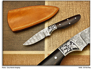 VanHoy, Ed – Ironwood Engraved Hunter/Skinner - Fixed Blade
