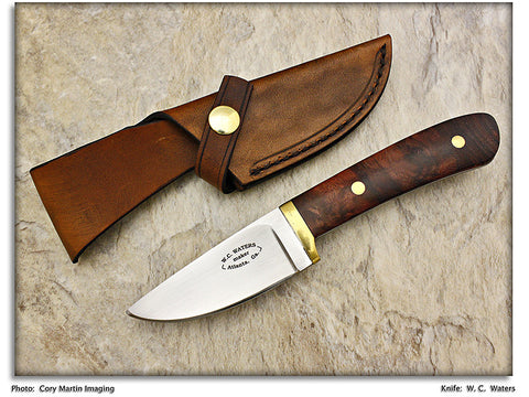 Waters, W.C. – Walnut Drop Point Hunter w/Leather Sheath - Fixed Blade