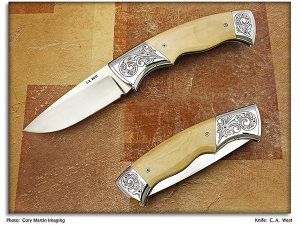 West, C.A. – Mammoth Ivory Folding Hunter - LinerLock Folder