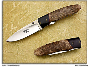 MKA 2008 Club Knife – Westlind, Dan – Maple Burl Drop Point Folder – LinerLock Folder