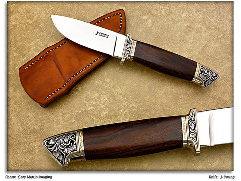 Young, John - Ironwood Engraved Drop Point Hunter - Fixed Blade