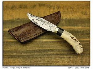 Zimmerman, Karl – Elk Horn Clip Point Hunter w/Sheath – Fixed Blade
