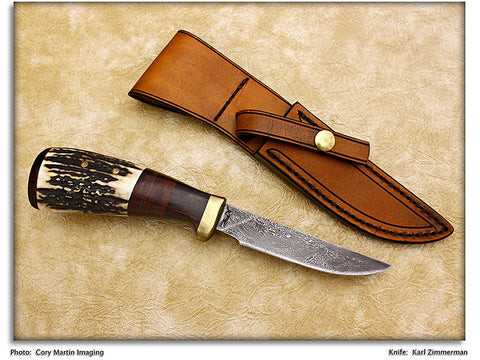 Zimmerman, Karl - Stag Antler Drop Point Hunter w/Sheath - Fixed Blade