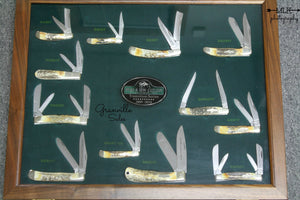 Transition Series - Walnut Display Case - Stag Horn 12 Knife Collector Set