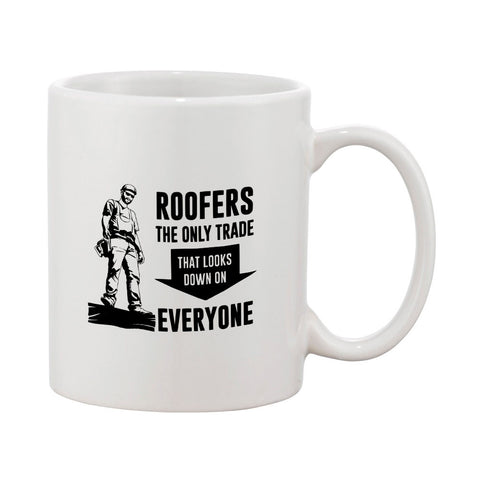 Roofer Looks Down Mug