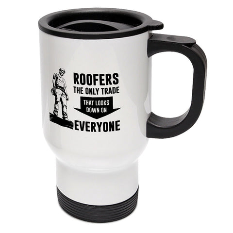 Roofer Looks Down Travel Mug