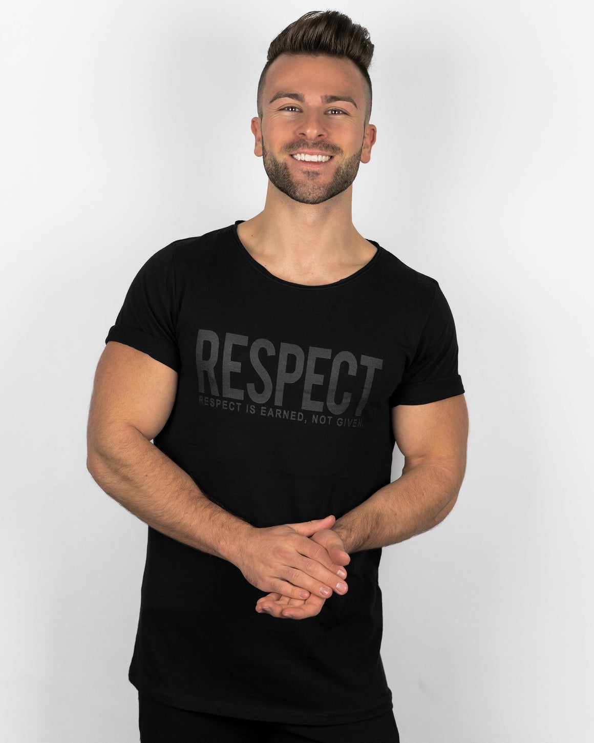 RESPECT Raw Scoop Neck Tee - Black on Black
