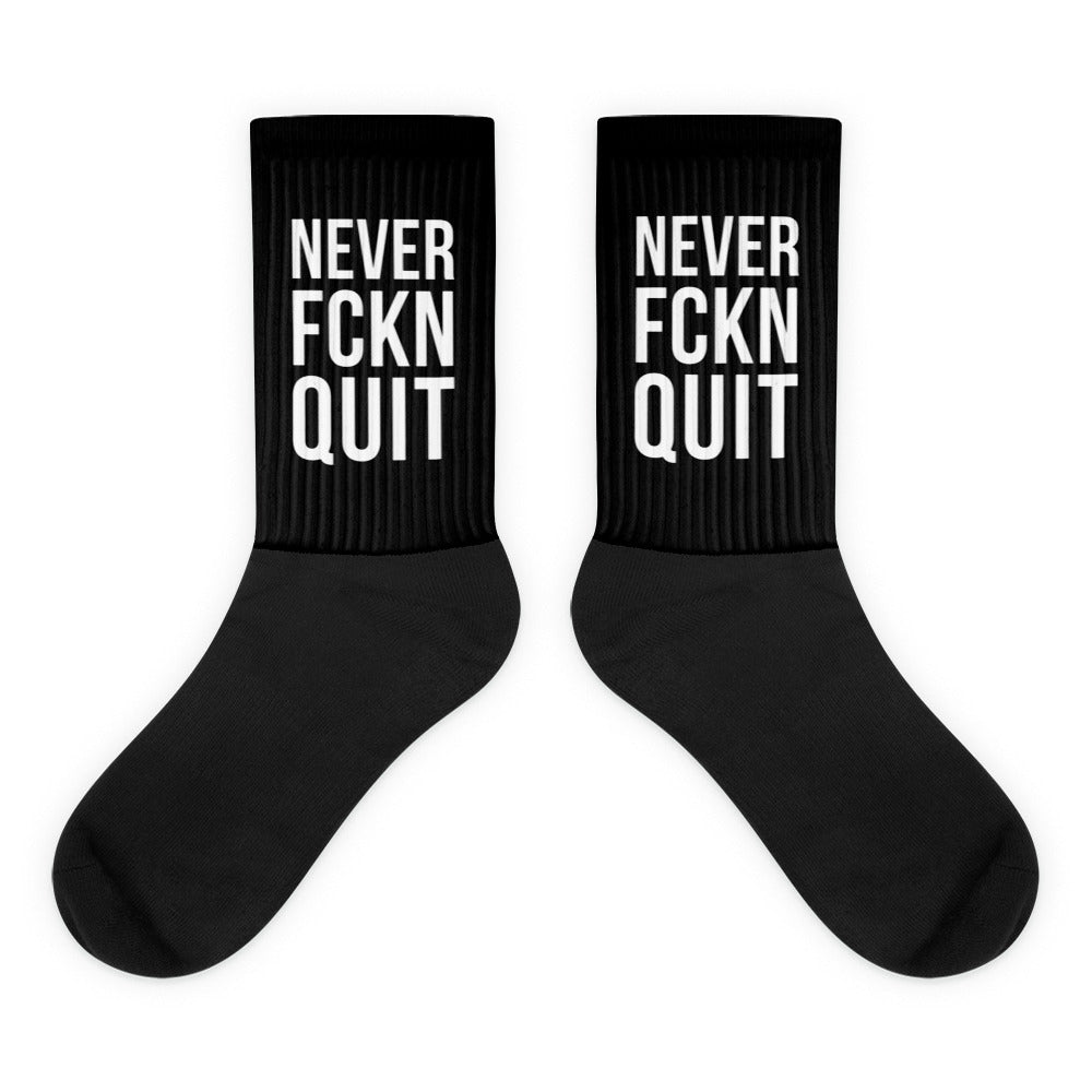 NEVER FCKN QUIT Socks - All Black