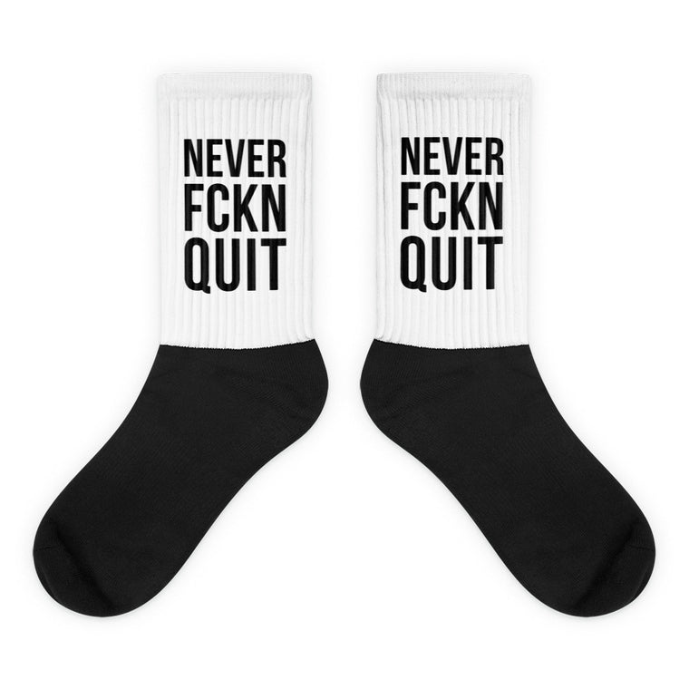 NEVER FCKN QUIT SOCKS - BLACK/WHITE