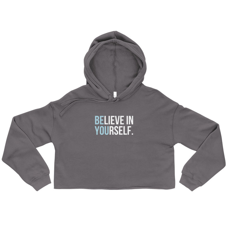 BE YOU Women's Crop Hoodie - Storm Grey/Frost Blue