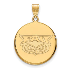 14ky LogoArt Florida Atlantic Large Disc Pendant