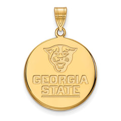 Sterling Silver w/GP LogoArt Georgia State University Large Disc Pendant