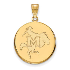 Sterling Silver w/GP LogoArt McNeese State University Large Disc Pendant