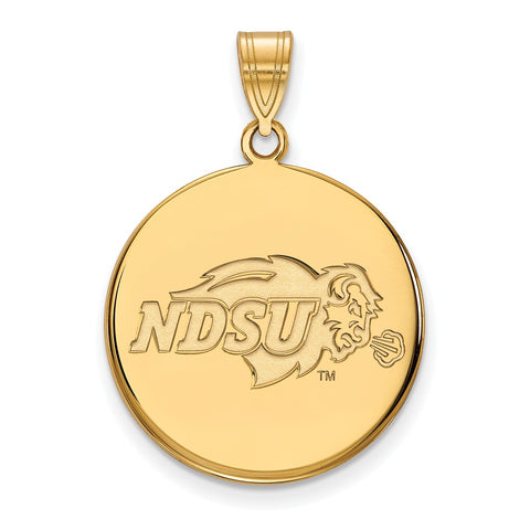 Sterling Silver w/GP LogoArt North Dakota State Large Disc Pendant