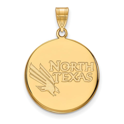 14k Yellow Gold Logoart University Of North Texas Mean Green Large Disc Pendant