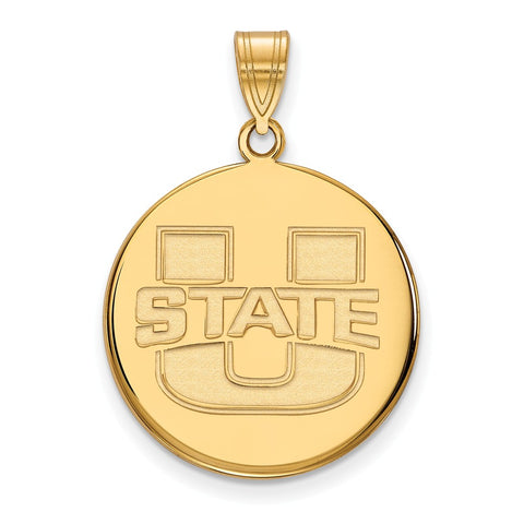 14k Yellow Gold Logoart Utah State Large Disc Pendant