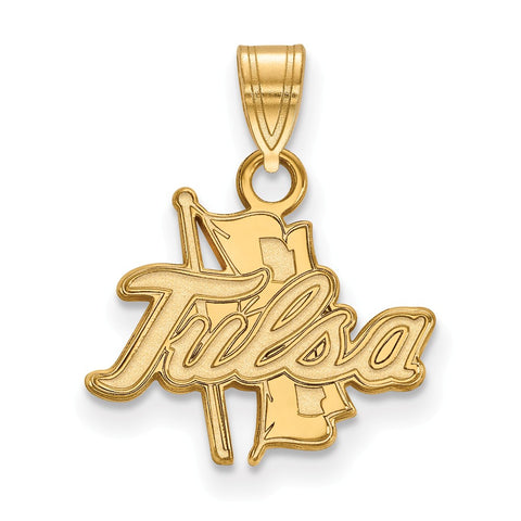 Sterling Silver w/GP LogoArt The University of Tulsa Small Pendant