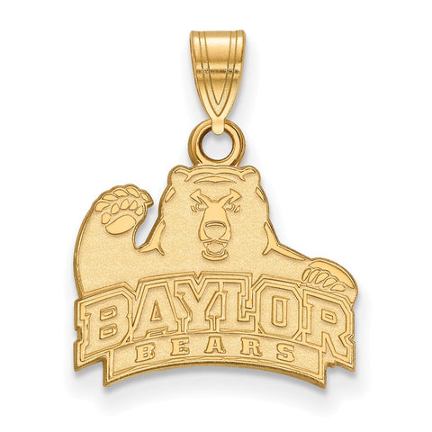 Sterling Silver w/GP LogoArt Baylor University Small Pendant