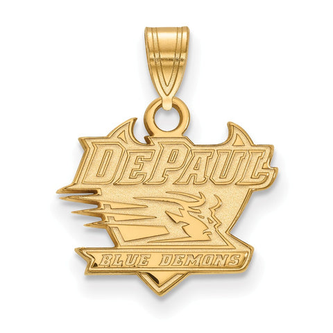 Sterling Silver w/GP LogoArt DePaul University Small Pendant