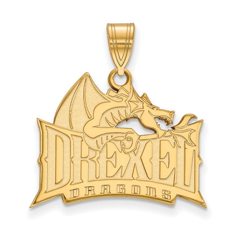 Sterling Silver w/GP LogoArt Drexel University Large Pendant