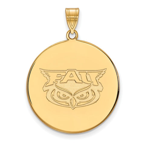 Sterling Silver w/GP LogoArt Florida Atlantic XL Disc Pendant