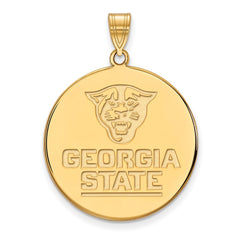 Sterling Silver w/GP LogoArt Georgia State University XL Disc Pendant