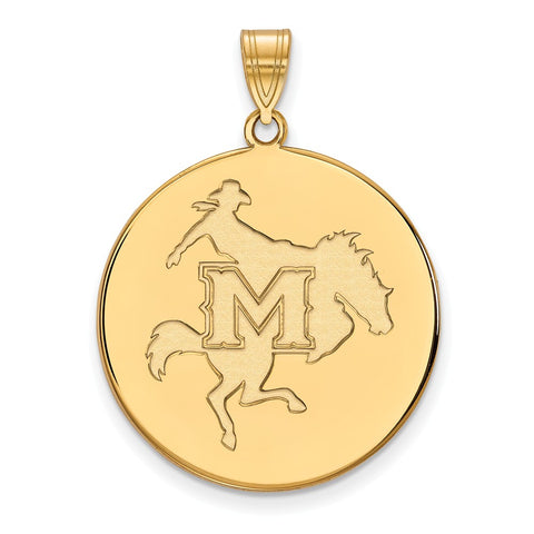Sterling Silver w/GP LogoArt McNeese State University XL Disc Pendant