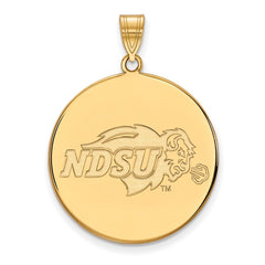 Sterling Silver w/GP LogoArt North Dakota State XL Disc Pendant