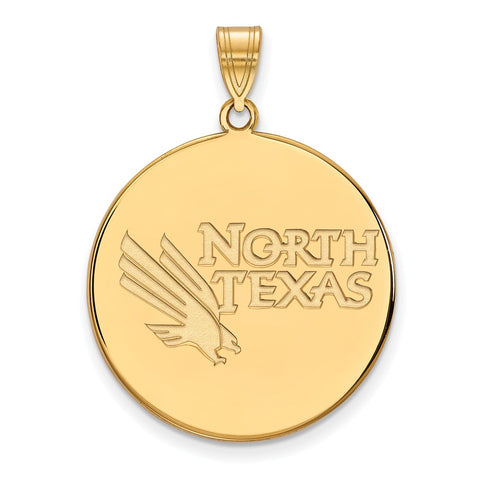Sterling Silver w/GP LogoArt University of North Texas XL Disc Pendant