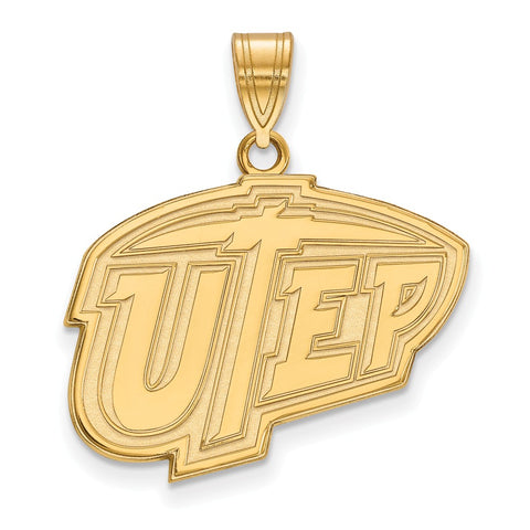 Sterling Silver w/GP LogoArt The University of Texas at El Paso Large Penda