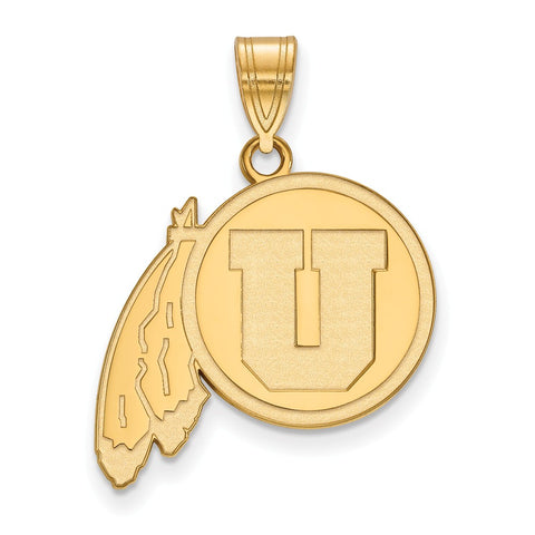 Sterling Silver w/GP LogoArt University of Utah Large Pendant
