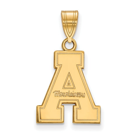 Sterling Silver w/GP LogoArt Appalachian State University Medium Pendant
