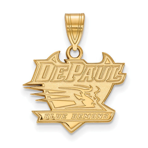 Sterling Silver w/GP LogoArt DePaul University Medium Pendant