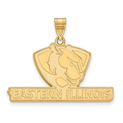 Sterling Silver w/GP LogoArt Eastern Illinois University Large Pendant
