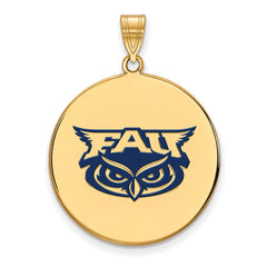 Sterling Silver w/GP LogoArt Florida Atlantic XL Enamel Disc Pendant