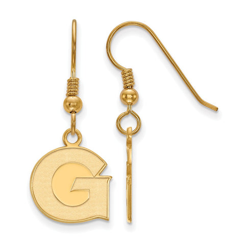 Sterling Silver w/GP LogoArt Georgetown University Small Dangle Earrings