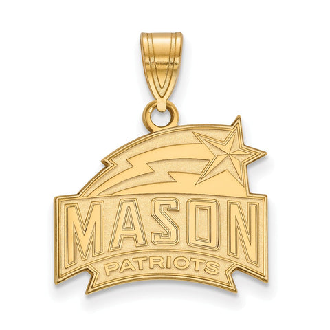 Sterling Silver w/GP LogoArt George Mason University Medium Pendant