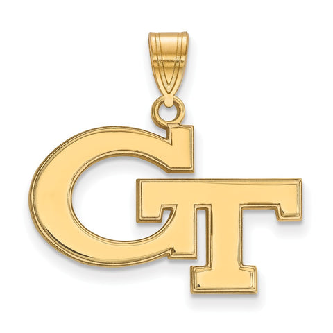 Sterling Silver w/GP LogoArt Georgia Institute of Technology Medium Pendant