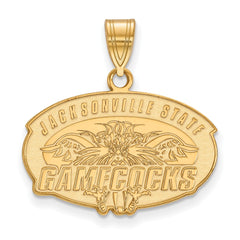 Sterling Silver w/GP LogoArt Jacksonville State University Medium Pendant